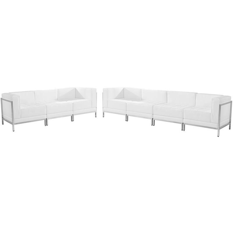 Flash Furniture ZB-IMAG-SET17-WH-GG HERCULES Imagination Series White Leather Sofa Set, 5 Pieces from Flash Furniture