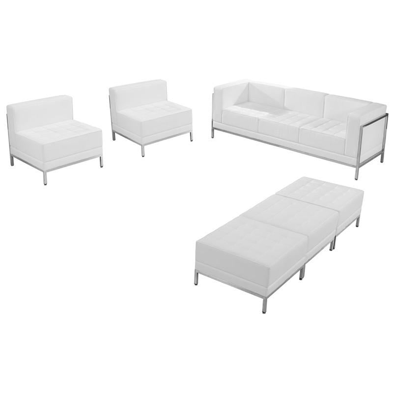 Flash Furniture ZB-IMAG-SET20-WH-GG HERCULES Imagination Series White Leather Sofa, Chair & Ottoman Set from Flash Furniture
