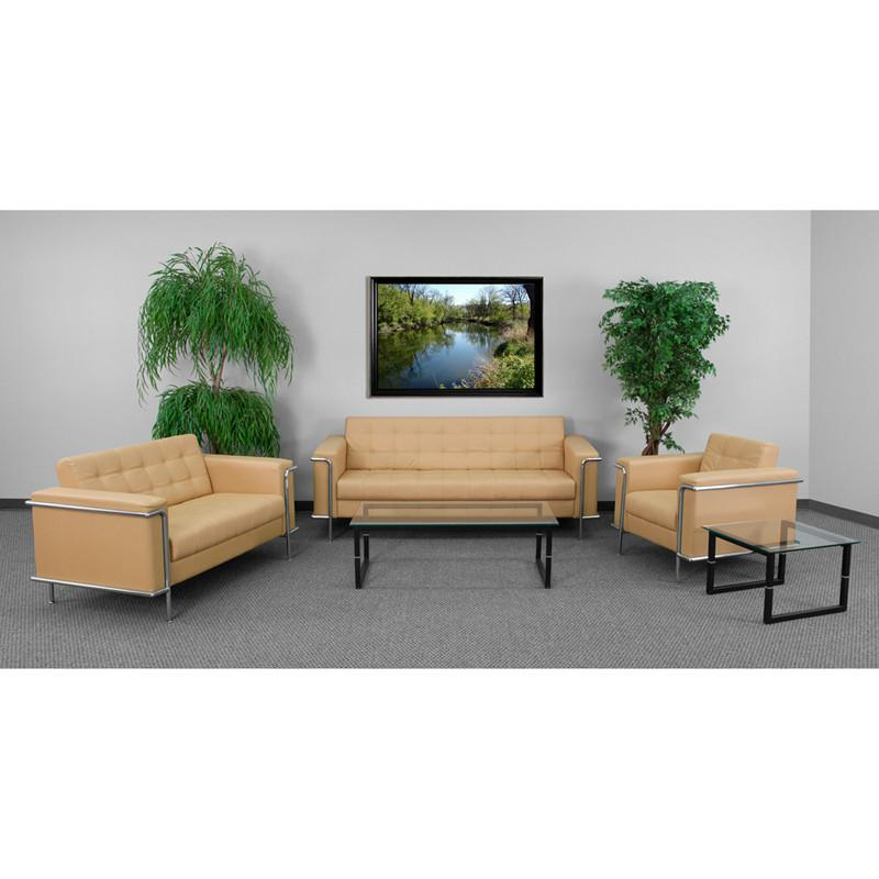 Flash Furniture ZB-LESLEY-8090-SET-BRN-GG HERCULES Lesley Series Reception Set in Light Brown from Flash Furniture