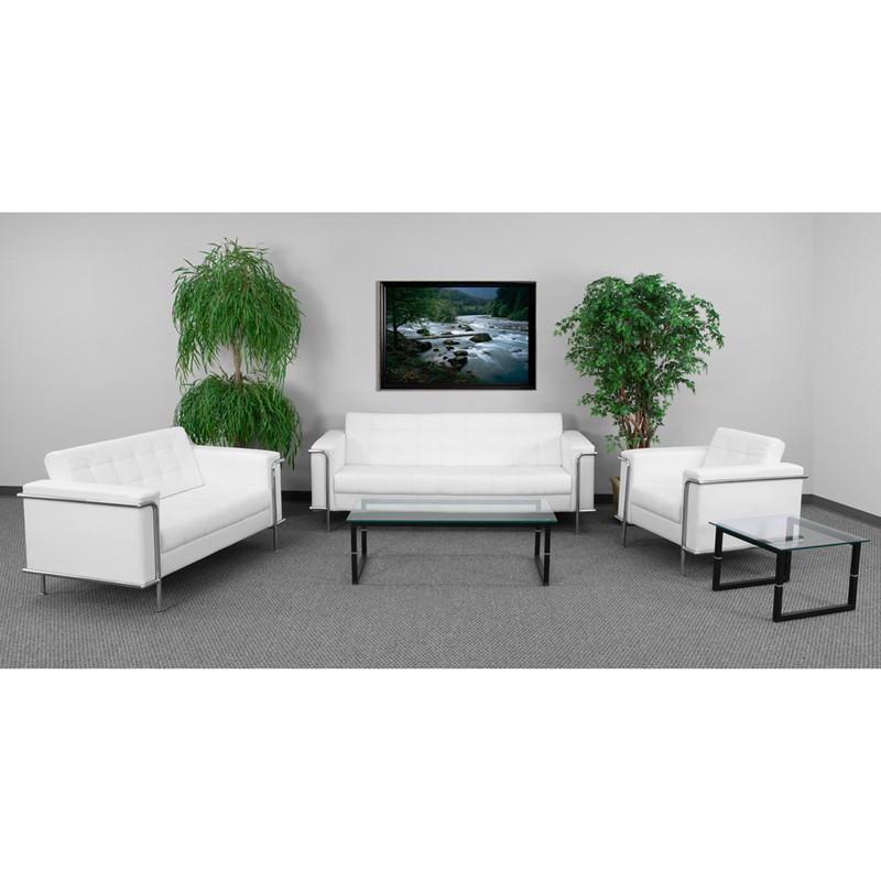 Flash Furniture ZB-LESLEY-8090-SET-WH-GG HERCULES Lesley Series Reception Set in White from Flash Furniture