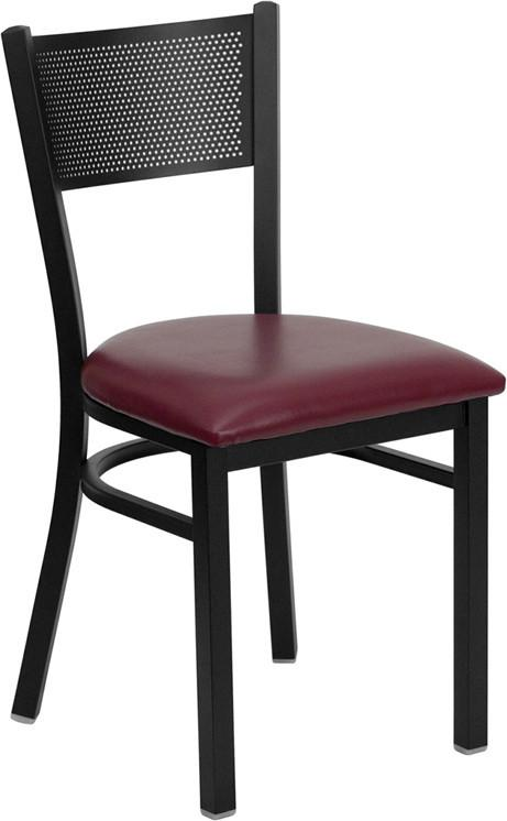 HERCULES Series Black Grid Back Metal Restaurant Chair with Burgundy Vinyl Seat XU-DG-60115-GRD-BURV-GG by Flash Furniture from Flash Furniture