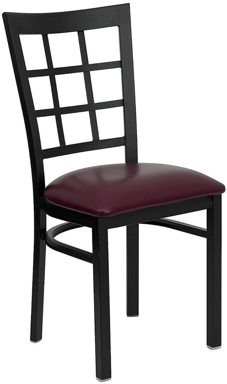 HERCULES Series Black Window Back Metal Restaurant Chair with Burgundy Vinyl Seat XU-DG6Q3BWIN-BURV-GG by Flash Furniture from Flash Furniture
