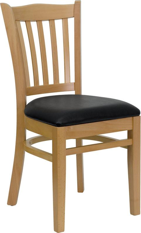 HERCULES Series Natural Wood Finished Vertical Slat Back Wooden Restaurant Chair with Black Vinyl Seat XU-DGW0008VRT-NAT-BLKV-GG by Flash Furniture from Flash Furniture