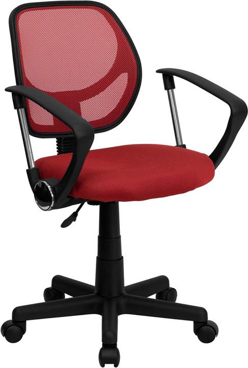 Mid-Back Red Mesh Task Chair and Computer Chair with Arms WA-3074-RD-A-GG by Flash Furniture from Flash Furniture