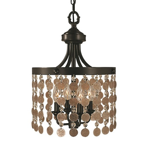 Framburg 2484-AB 4-Light Antique Brass Naomi Mini Chandelier from Framburg