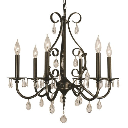 Framburg 2986-MBLACK 6-Light Matte Black Liebestraum Dining Chandelier from Framburg