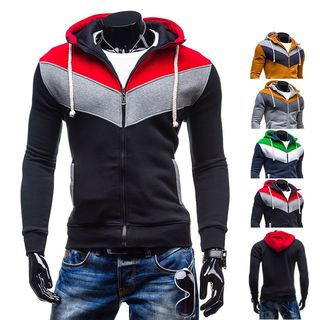 Color Block Hooded Zip Jacket from Free Shop