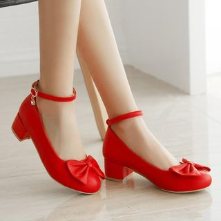 Ankle-Strap Bow Pumps from Freesia
