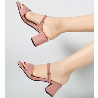 Block Heel Ankle Strap Sandals from Freesia