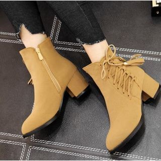 Block Heel Lace-Up Short Boots from Freesia