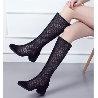 Block-Heel Mesh Tall Boots from Freesia