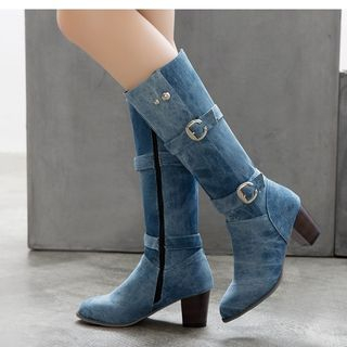 Block Heel Pointy Mid Calf Boots from Freesia
