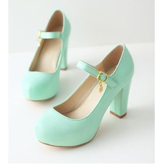 Chunky-Heel Mary Jane Pumps from Freesia
