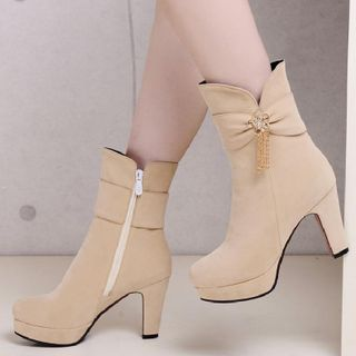 Chunky-Heel Platform Short Boots from Freesia