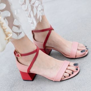 Contrast Color Open Toe Chunky Heel Sandals from Freesia