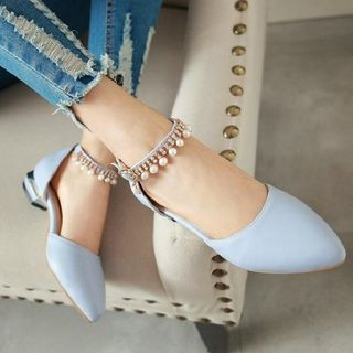 Embellished Ankle Strap Pumps from Freesia