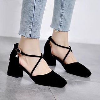 Faux Suede Crossover Strap Block Heel Pumps from Freesia
