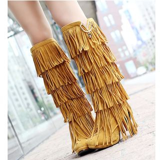 Fringed Chunky-Heel Knee-High Boots from Freesia