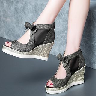 Glitter-Panel Peep-Toe Wedge Sandals from Freesia