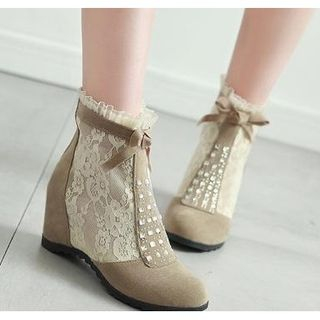 Hidden-Wedge Lace Ankle Boots from Freesia