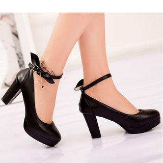 High Heel Bow Accent Ankle Strap Pumps from Freesia