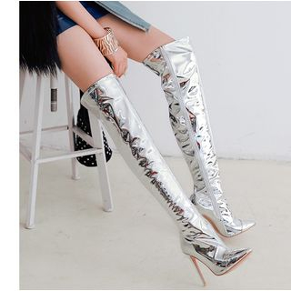 High-Heel Metallic Over-The-Knee Boots from Freesia