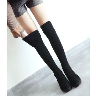 Knit Panel Over-The-Knee Boots from Freesia