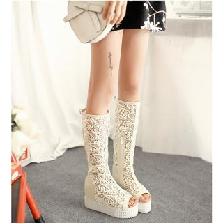 Lace Peep-toe Platform Tall Boots from Freesia