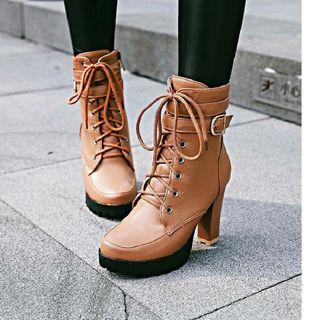 Lace Up Platform Block Heel Short Boots from Freesia