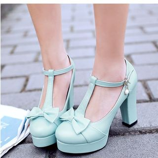 Lolita Cosplay Bow T-strap Pumps from Freesia