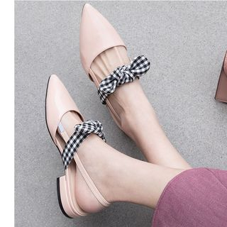 Plaid Bow Slingback Pointed Toe Sandals from Freesia
