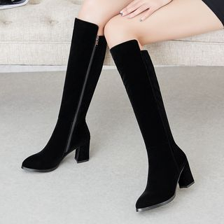 Pointed Block Heel Knee-High Boots from Freesia