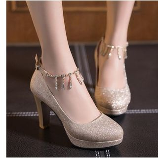 Rhinestone Dangle Ankle Strap Glitter Platform Pumps from Freesia