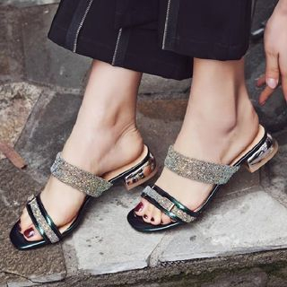 Rhinestone Double Strap Slide Sandals from Freesia