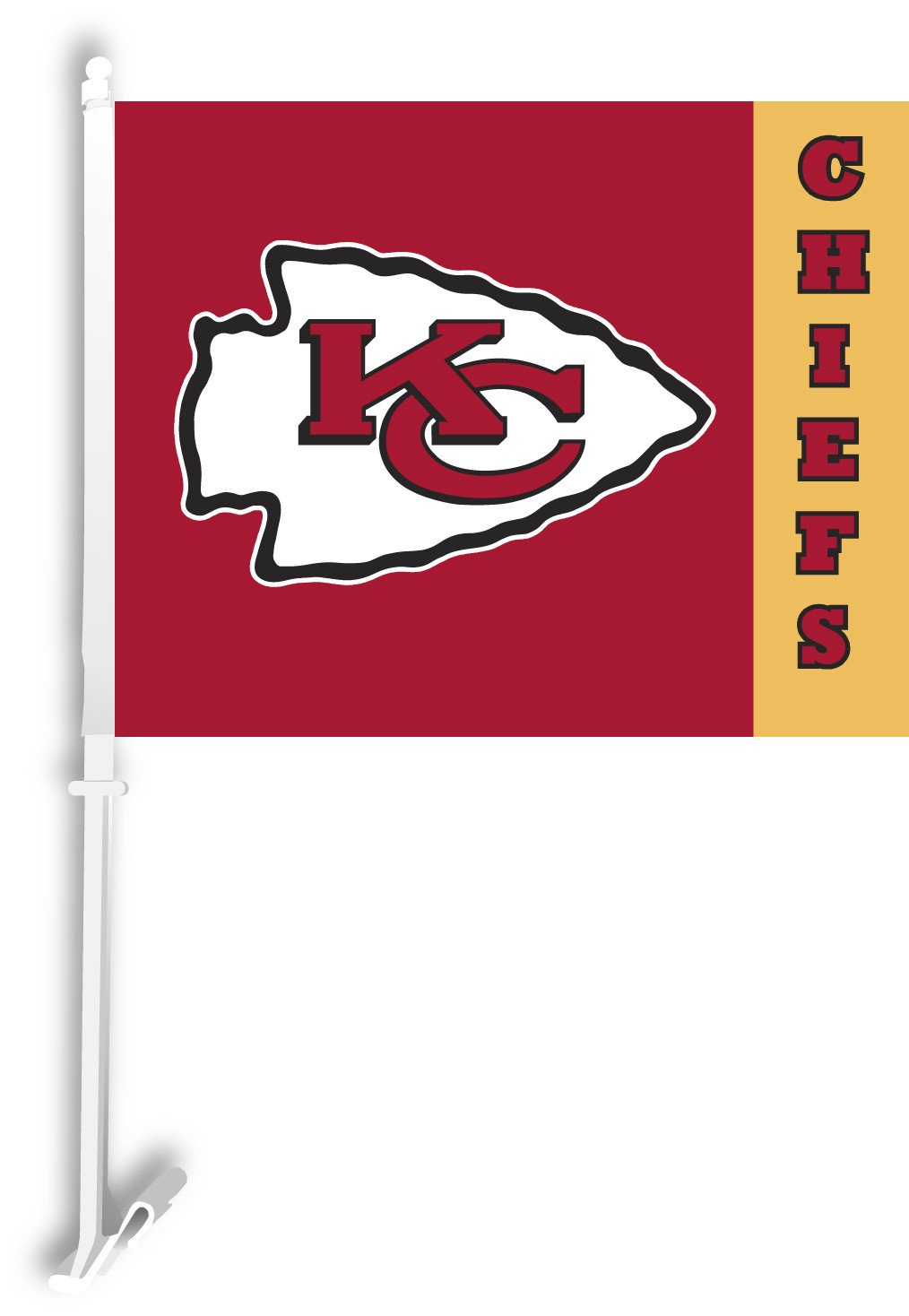 Kansas City Chiefs Car Flag W/Wall Brackett from Fremont Die, Inc.