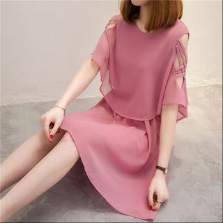 Cutout Shoulder Elbow-Sleeve Dress from Frigga