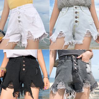 Distressed Hem Denim Shorts from Frigga