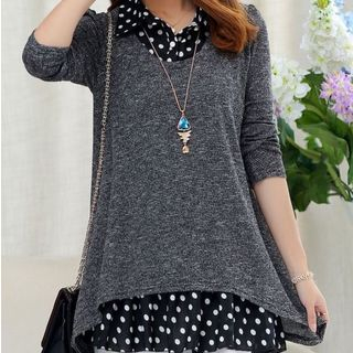 Dotted Mock Two-Piece Sweater from Frigga