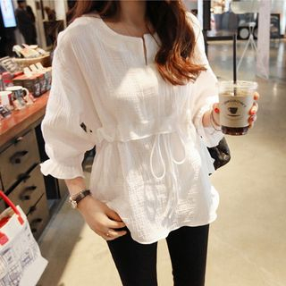 Drawstring Waist 3/4-Sleeve Blouse from Frigga