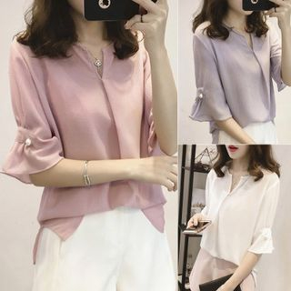 Elbow-Sleeve Chiffon Blouse from Frigga