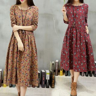 Floral Long-Sleeve Midi A-Line Dress from Frigga