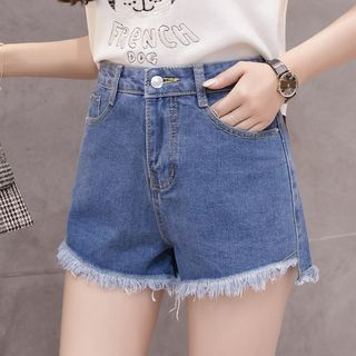 Fray Hem Denim Shorts from Frigga