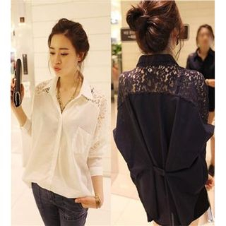 Lace Panel Chiffon Shirt from Frigga