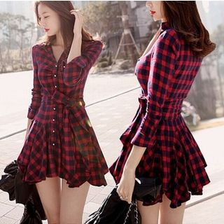 Plaid Tie-Waist Shirtdress from Frigga
