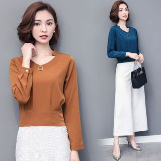 Plain Long-Sleeve Blouse from Frigga