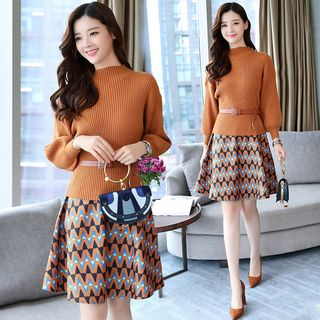 Set: Mock Turtleneck Ribbed Sweater + Patterned Mini A-Line Skirt from Frigga