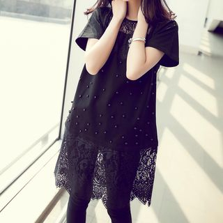 Short-Sleeve Lace Panel Mini Dress from Frigga