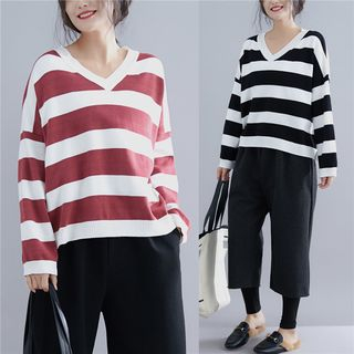 V-Neck Striped Sweater from Frigga