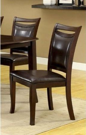Furniture of America IDF-3024SC Leatherette Dining Side Chair in Dark Cherry (Set of 2) from Furniture of America