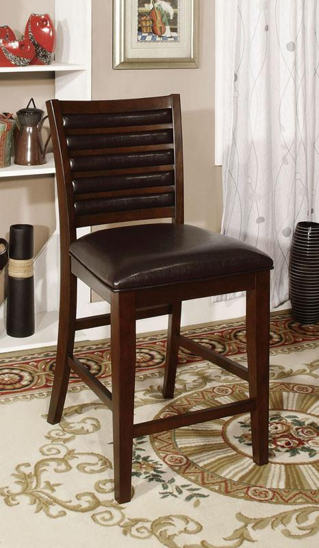 Furniture of America IDF-3035PC Brown Cherry Leatherette Counter Height Chair (set of 2) from Furniture of America